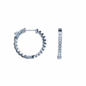 925 Sterling Silver Women's Sparkle Hoop E…